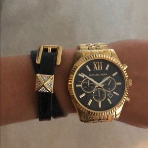 Black Michael Kors wrap bracelet with rhinestone